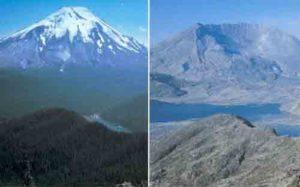 Vulcano St. Helens prima e dopo Eruzione del 1980